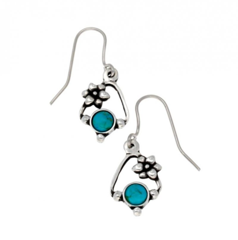 Image 1 of Flower Knot Turquoise Glass Stone Stylish Pewter Sheppard Hook Earrings