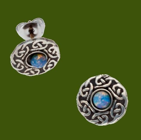 Image 0 of Celtic Knotwork Round Opal Glass Stone Small Stud Stylish Pewter Earrings