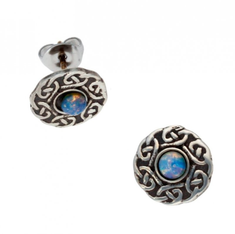 Image 1 of Celtic Knotwork Round Opal Glass Stone Small Stud Stylish Pewter Earrings