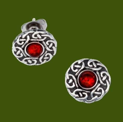 Image 0 of Celtic Knotwork Round Amber Glass Stone Small Stud Stylish Pewter Earrings