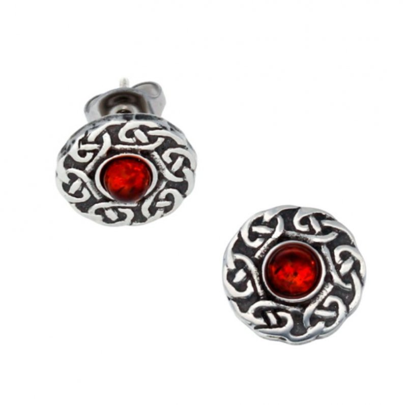 Image 1 of Celtic Knotwork Round Amber Glass Stone Small Stud Stylish Pewter Earrings