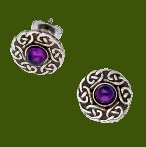 Image 0 of Celtic Knotwork Round Amethyst Glass Stone Small Stud Stylish Pewter Earrings