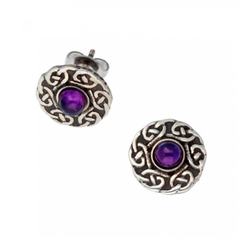 Image 1 of Celtic Knotwork Round Amethyst Glass Stone Small Stud Stylish Pewter Earrings