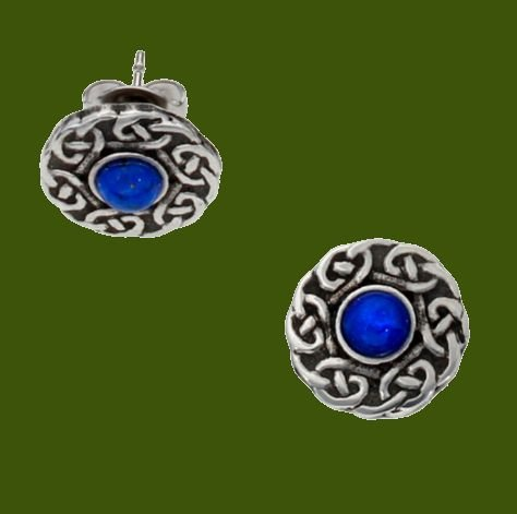 Image 0 of Celtic Knot Round Lapis Lazuli Glass Stone Small Stud Stylish Pewter Earrings