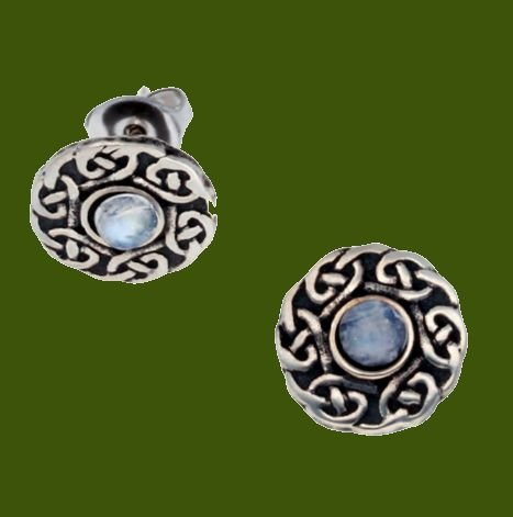 Image 0 of Celtic Knotwork Round Moonstone Glass Stone Small Stud Stylish Pewter Earrings