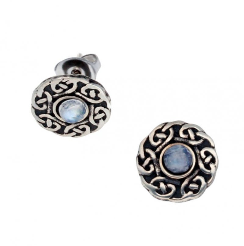 Image 1 of Celtic Knotwork Round Moonstone Glass Stone Small Stud Stylish Pewter Earrings