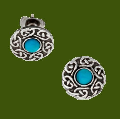 Image 0 of Celtic Knotwork Round Turquoise Glass Stone Small Stud Stylish Pewter Earrings