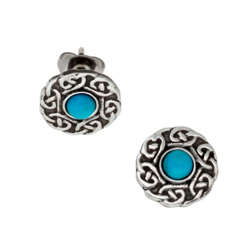 Image 1 of Celtic Knotwork Round Turquoise Glass Stone Small Stud Stylish Pewter Earrings