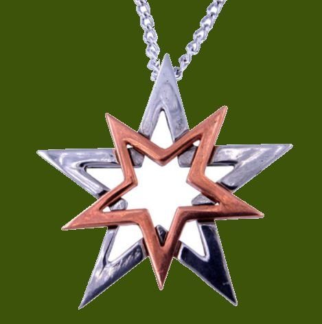 Image 0 of Double Star Polished Copper Plated Stylish Pewter Pendant
