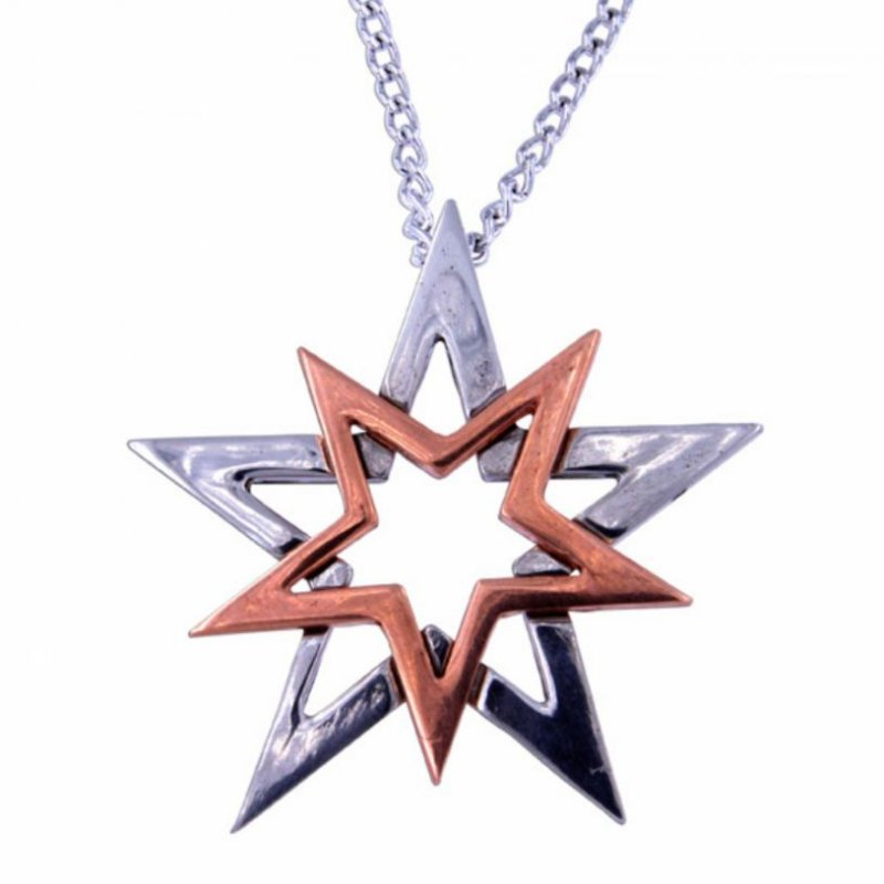 Image 1 of Double Star Polished Copper Plated Stylish Pewter Pendant