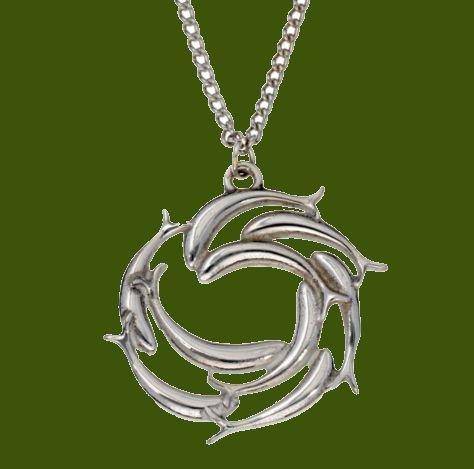 Image 0 of Swirl Of Fish Marine Creature Themed Stylish Pewter Pendant