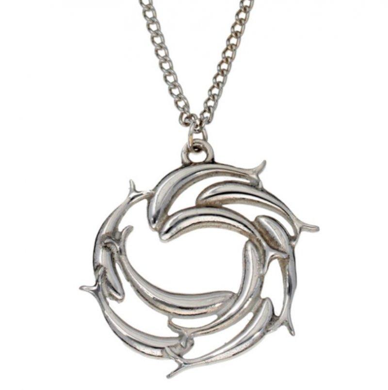 Image 1 of Swirl Of Fish Marine Creature Themed Stylish Pewter Pendant