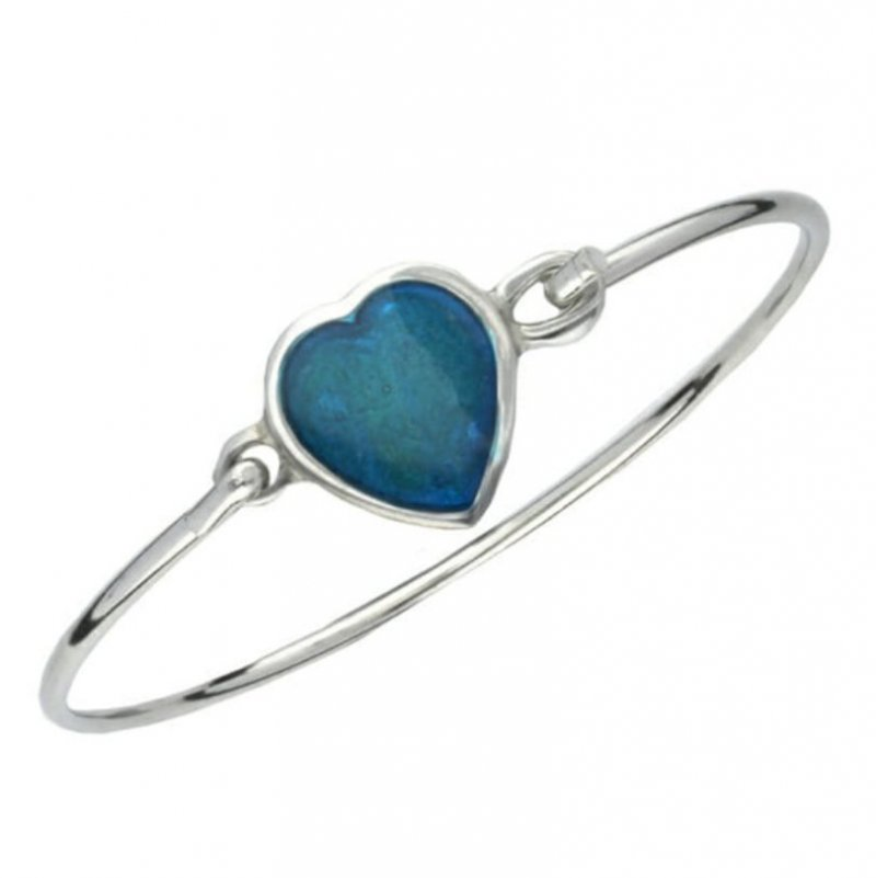 Image 1 of Blue Enamel Heart Pewter Framed Silver Plated Clip On Bangle