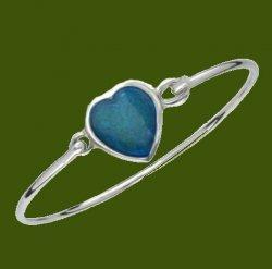 Blue Enamel Heart Pewter Framed Silver Plated Clip On Bangle