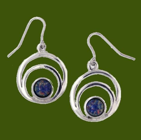 Image 0 of Centric Circles Opal Glass Stone Stylish Pewter Sheppard Hook Earrings