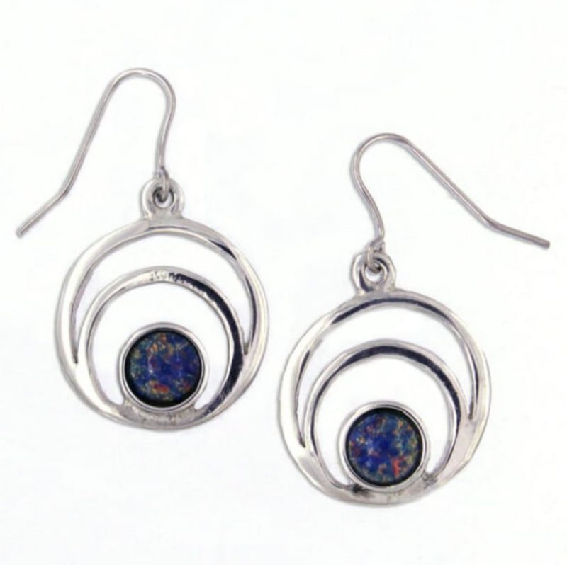 Image 1 of Centric Circles Opal Glass Stone Stylish Pewter Sheppard Hook Earrings