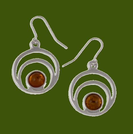 Image 0 of Centric Circles Amber Glass Stone Stylish Pewter Sheppard Hook Earrings