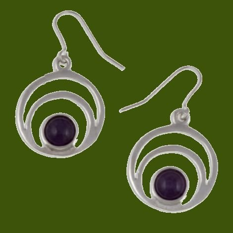 Image 0 of Centric Circles Amethyst Glass Stone Stylish Pewter Sheppard Hook Earrings
