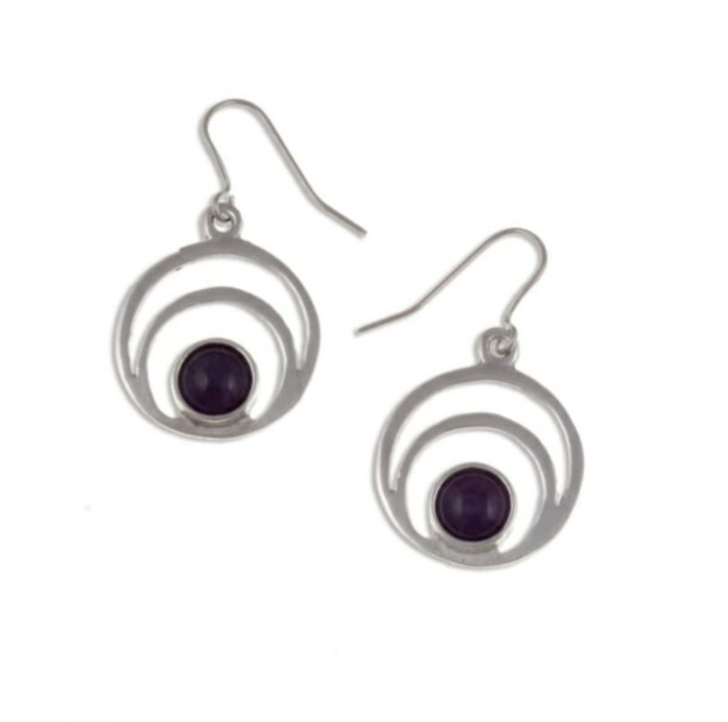 Image 1 of Centric Circles Amethyst Glass Stone Stylish Pewter Sheppard Hook Earrings