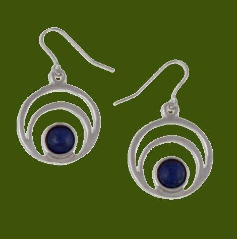 Image 0 of Centric Circles Lapis Lazuli Glass Stone Stylish Pewter Sheppard Hook Earrings
