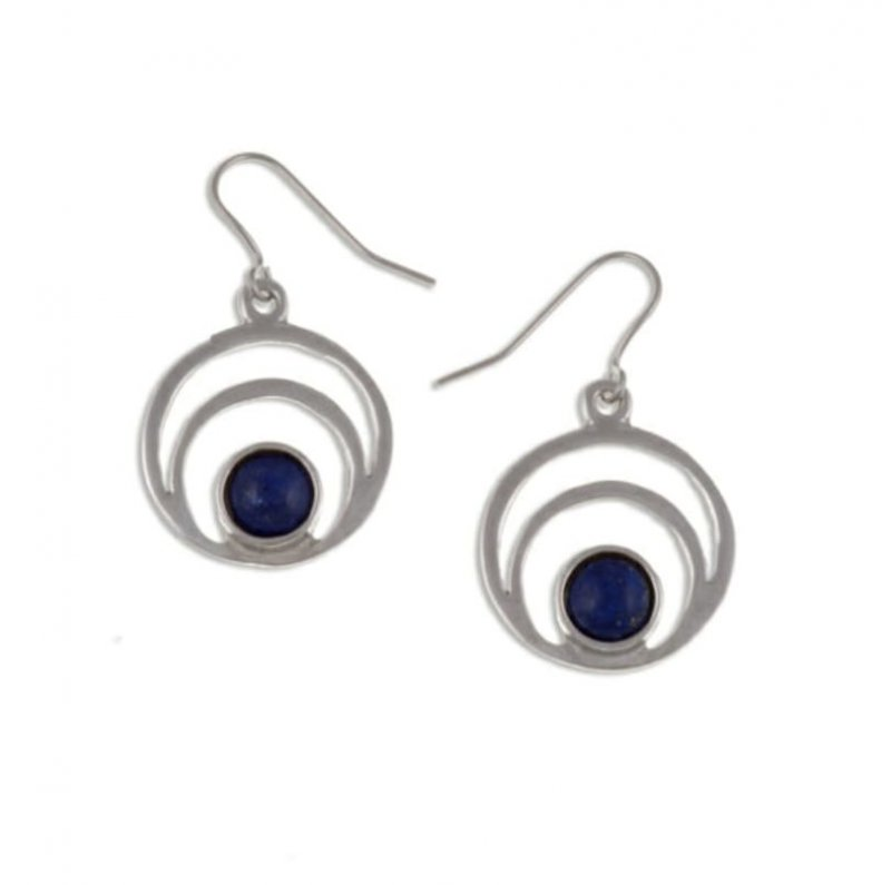 Image 1 of Centric Circles Lapis Lazuli Glass Stone Stylish Pewter Sheppard Hook Earrings