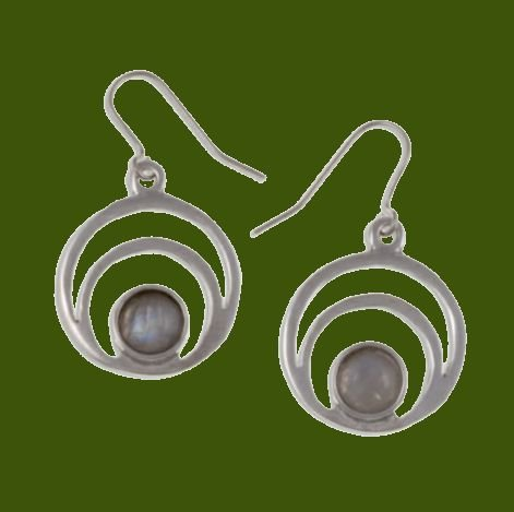 Image 0 of Centric Circles Moonstone Glass Stone Stylish Pewter Sheppard Hook Earrings