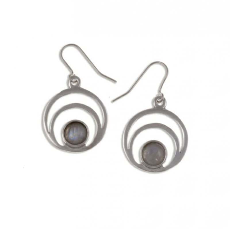 Image 1 of Centric Circles Moonstone Glass Stone Stylish Pewter Sheppard Hook Earrings