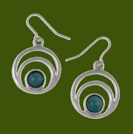 Image 0 of Centric Circles Turquoise Glass Stone Stylish Pewter Sheppard Hook Earrings