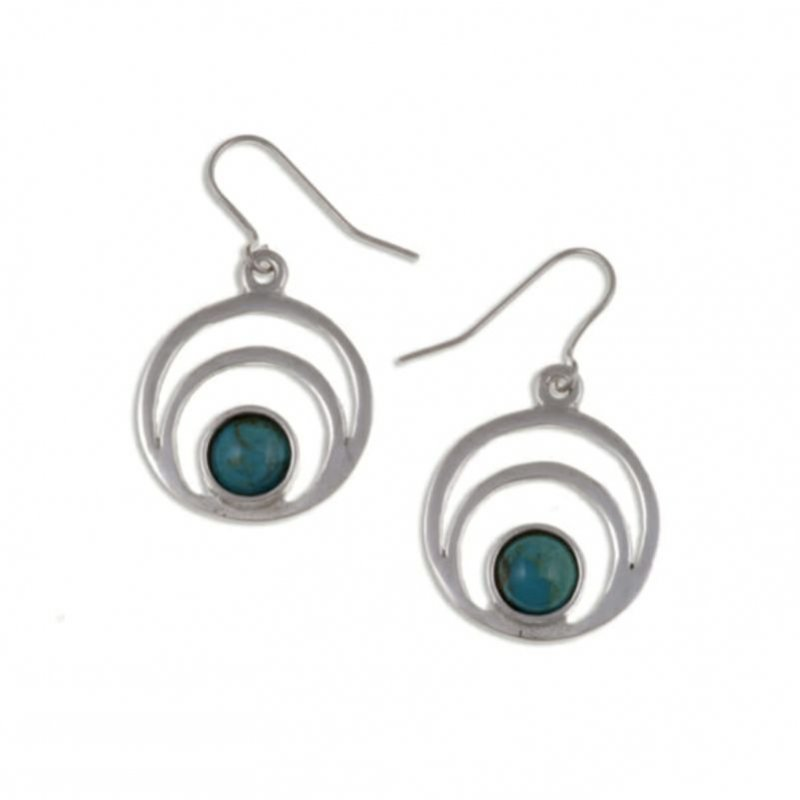 Image 1 of Centric Circles Turquoise Glass Stone Stylish Pewter Sheppard Hook Earrings