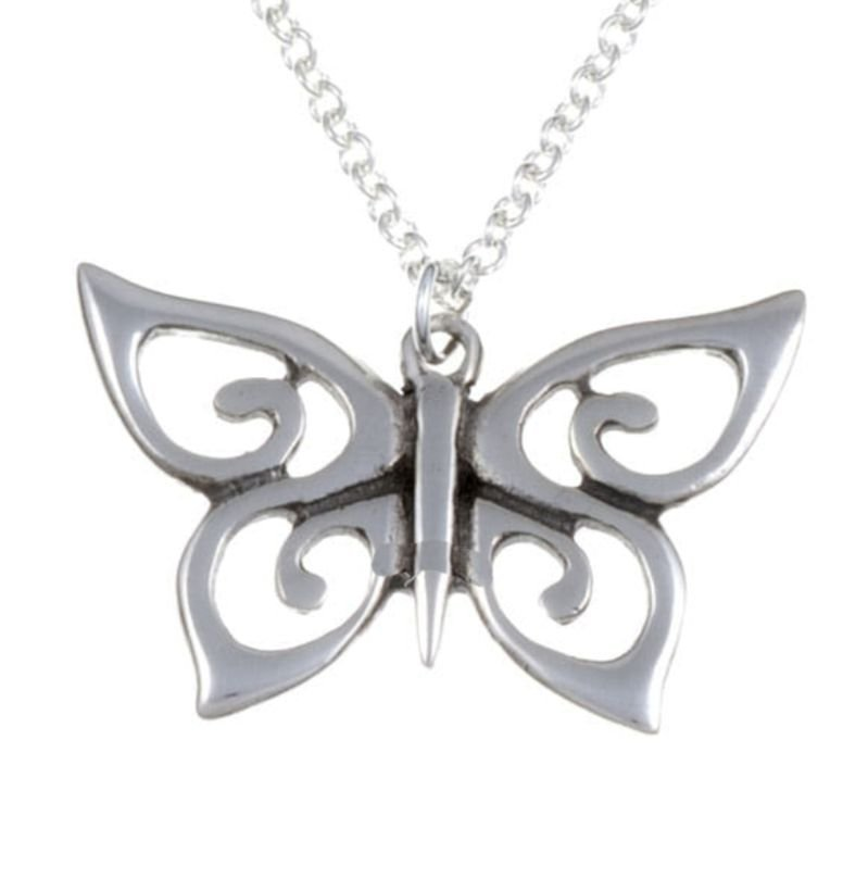 Image 1 of Butterfly Spiral Wings Insect Themed Stylish Pewter Pendant