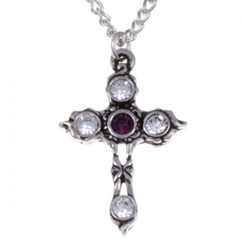 Image 1 of Cross Purple Clear Crystal Stones Stylish Pewter Pendant
