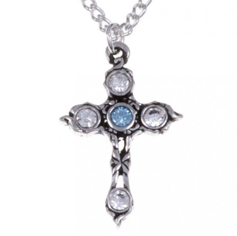 Image 1 of Cross Aqua Blue Clear Crystal Stones Stylish Pewter Pendant