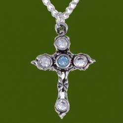 Cross Aqua Blue Clear Crystal Stones Stylish Pewter Pendant
