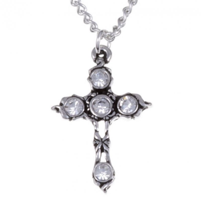 Image 1 of Cross Clear Crystal Stones Stylish Pewter Pendant