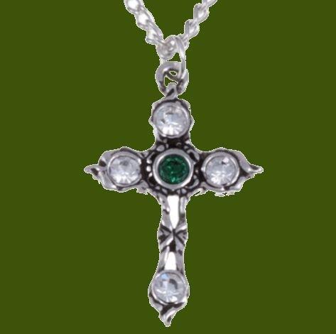 Image 0 of Cross Emerald Green Crystal Stones Stylish Pewter Pendant
