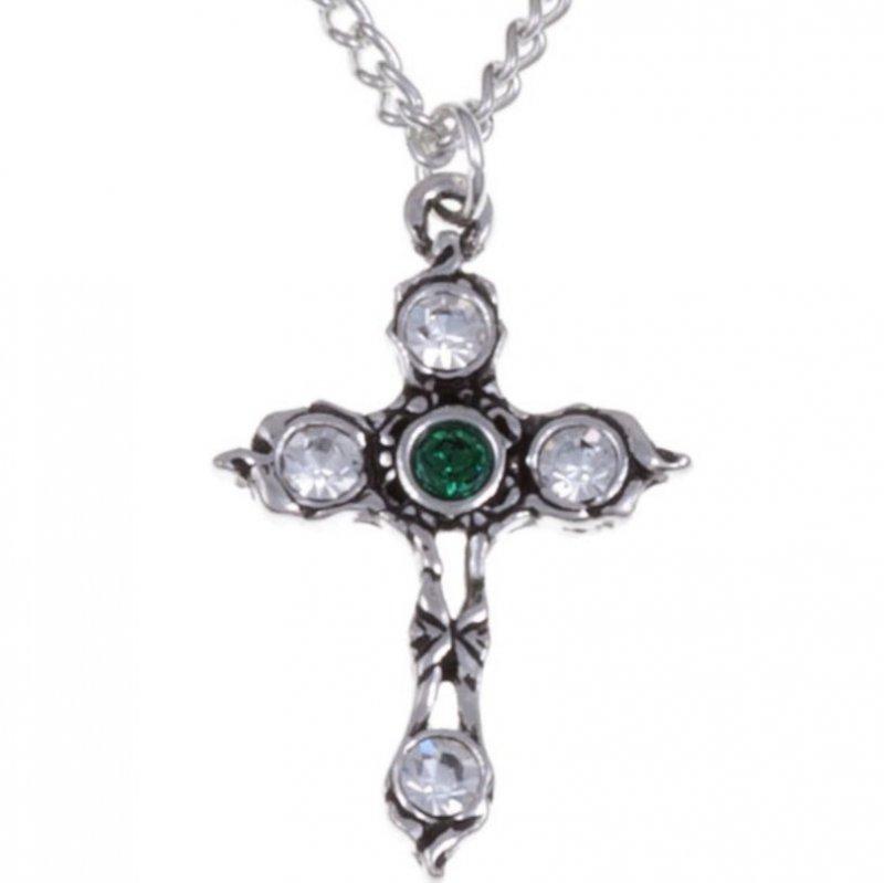 Image 1 of Cross Emerald Green Crystal Stones Stylish Pewter Pendant