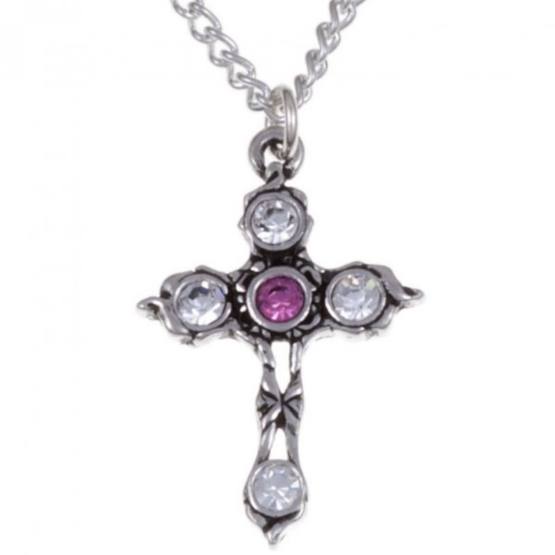 Image 1 of Cross Rose Pink Crystal Stones Stylish Pewter Pendant