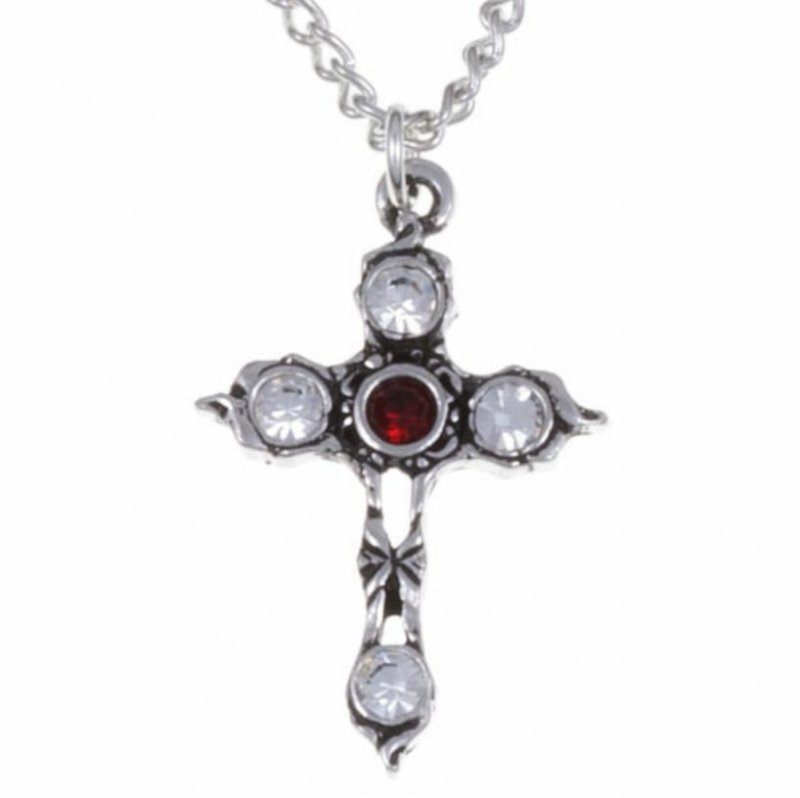 Image 1 of Cross Ruby Red Crystal Stones Stylish Pewter Pendant