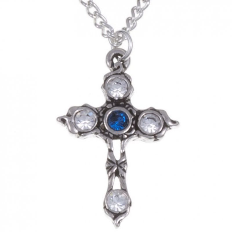 Image 1 of Cross Sapphire Blue Crystal Stones Stylish Pewter Pendant
