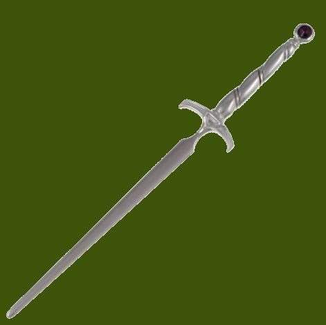 Image 0 of Excalibur Sword Amethyst Crystal Stylish Pewter Letter Opener