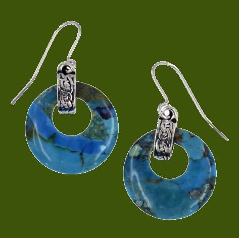 Image 0 of Turquoise Circular Celtic Knot Bale Stylish Pewter Sheppard Hook Earrings