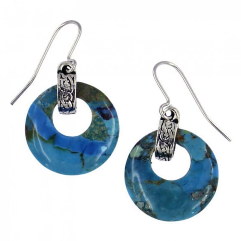 Image 1 of Turquoise Circular Celtic Knot Bale Stylish Pewter Sheppard Hook Earrings