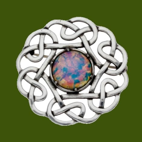 Image 0 of Celtic Endless Open Knotwork Opal Glass Stone Stylish Pewter Brooch