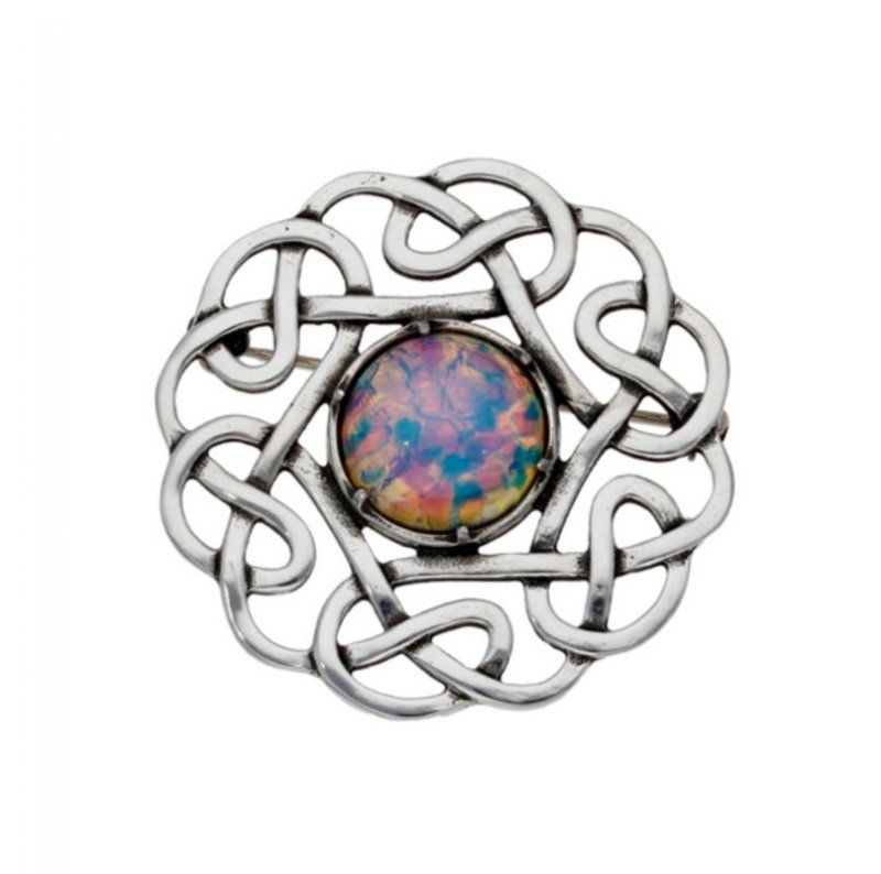 Image 1 of Celtic Endless Open Knotwork Opal Glass Stone Stylish Pewter Brooch