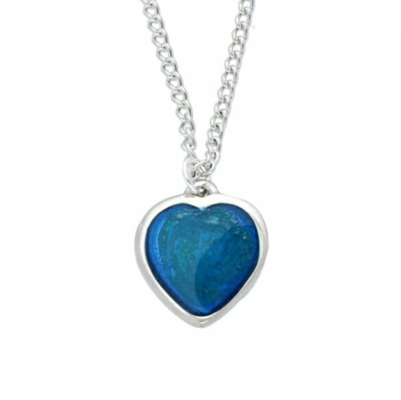 Image 1 of Love Heart Blue Enamel Small Stylish Pewter Pendant