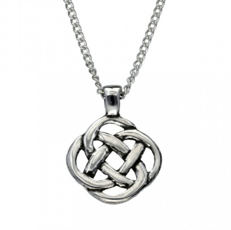 Image 1 of Celtic Square Infinity Knotwork Design Stylish Pewter Pendant