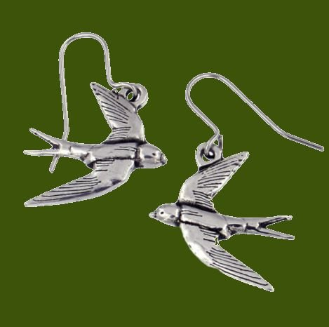 Image 0 of Flying Swifts Bird Themed Sheppard Hook Stylish Pewter Earrings