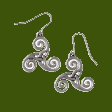 Image 0 of Celtic Triscele Knotwork Stylish Pewter Sheppard Hook Earrings