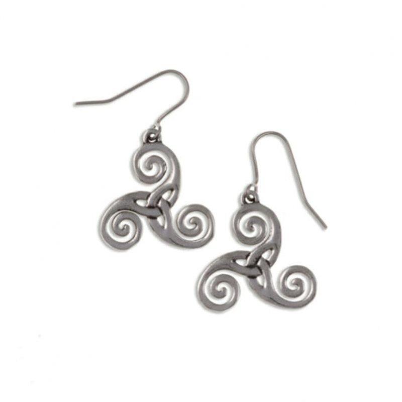 Image 1 of Celtic Triscele Knotwork Stylish Pewter Sheppard Hook Earrings