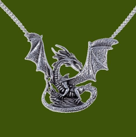 Image 0 of Winged Dragon On Rock Mystical Creature Themed Stylish Pewter Pendant